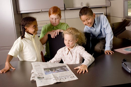Children in business meeting : Stock Photo