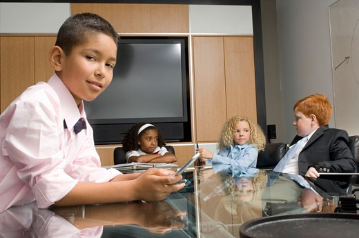 Junior business children at office meeting : Stock Photo