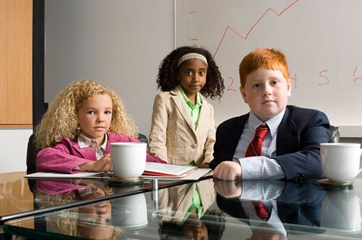 Young business children in office meeting : Stock Photo