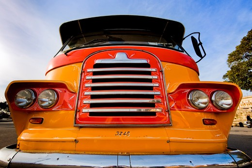 Old-fashioned retro grille of colorful bus : Stock Photo