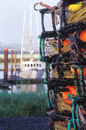 Stock Photo: 1626R-11532 Fishing Gear on the Shore