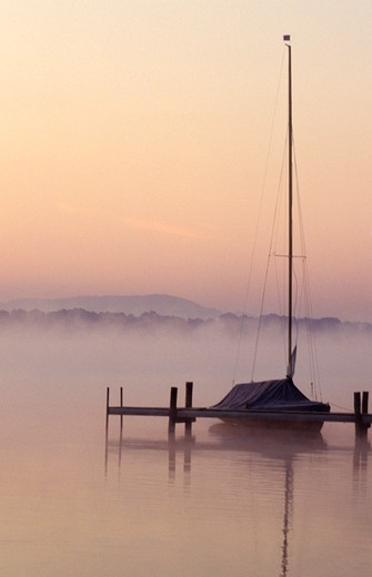 Sailboat Moored at Foggy Pier : Stock Photo