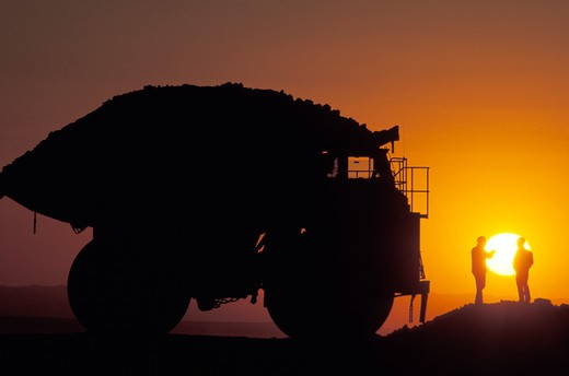 Huge Industrial Vehicle at Sunset : Stock Photo