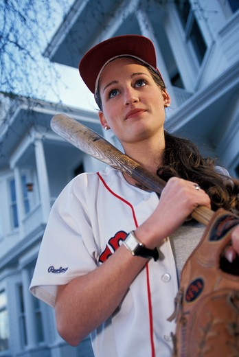 Woman Going to Baseball Practice : Stock Photo