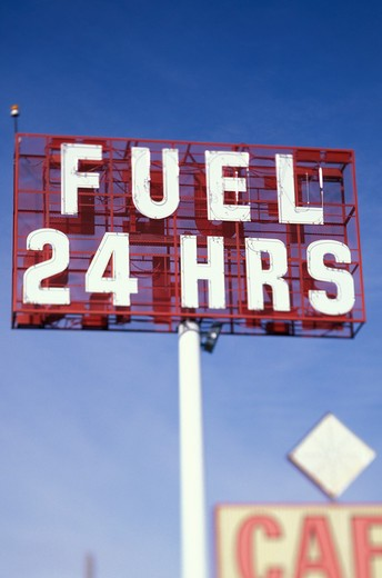 24 Hour Fuel Sign : Stock Photo
