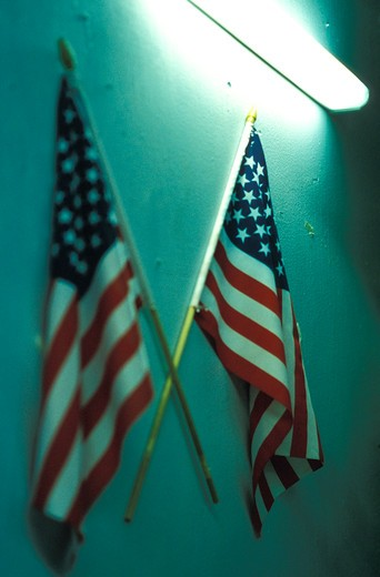 American Flags on the Wall : Stock Photo