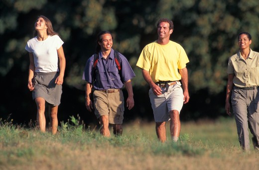A Group Of Smiling Hikers : Stock Photo
