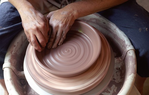 Stock Photo: 1626R-15289 Hands At The Pottery Wheel
