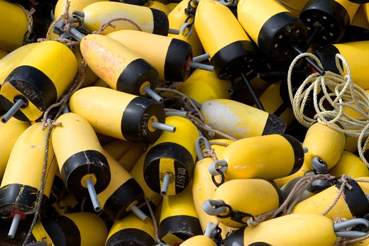 Stock Photo: 1626R-15426 Yellow Fishing Buoys