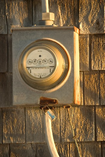 Electric Meter On A Rural Cabin : Stock Photo