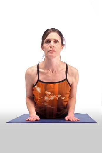 Woman Bending Backward in Yoga Pose : Stock Photo