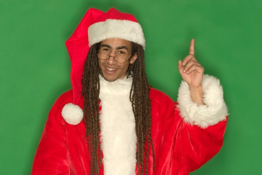 Young Black Santa With Raised Finger : Stock Photo