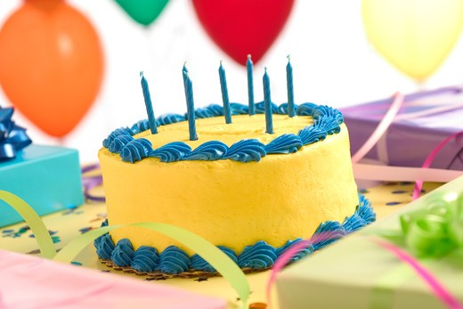 Stock Photo: 1626R-17040 Birthday Cake With Unlit Candles