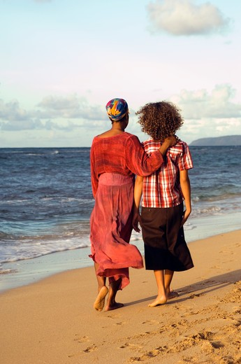 Stock Photo: 1626R-18118 Two People Walking on Beach