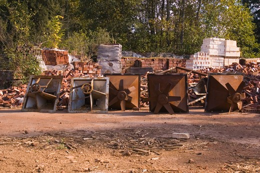 Stock Photo: 1626R-18500 Abandoned Brick Yard in Woods