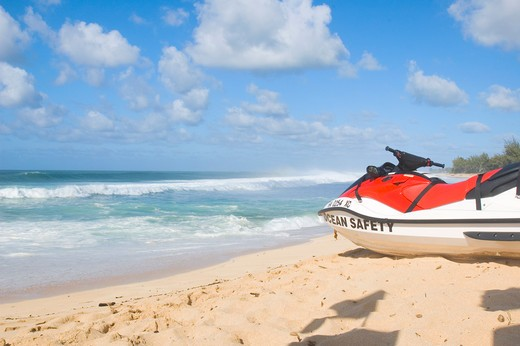 Stock Photo: 1626R-18528 Unmanned Coast Guard Vehicle on Beach