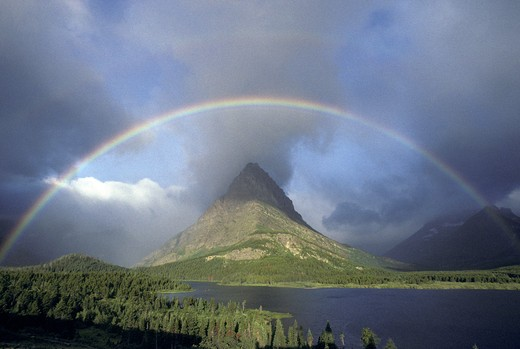 Stock Photo: 1626R-18937 Rainbow at Grinnel Point Glacier National Park