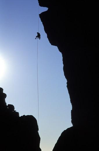 Rock Climber at Smith Rock in Oregon : Stock Photo