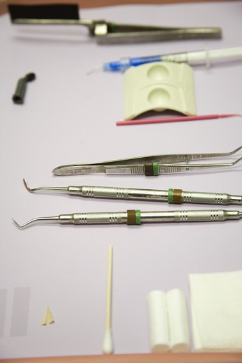 Dental Equipment on Tray : Stock Photo
