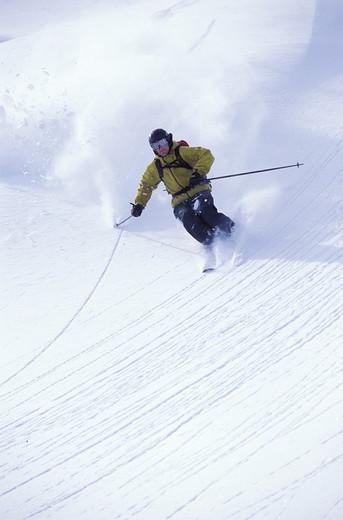 Stock Photo: 1626R-20631 Skier on Powdery Slope