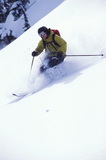 Skier on Powdery Slope : Stock Photo
