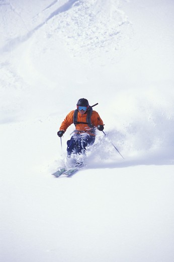 Stock Photo: 1626R-20642 Skier on Powdery Slope