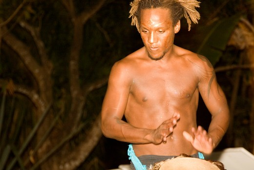 Drummer in Costa Rican Night : Stock Photo