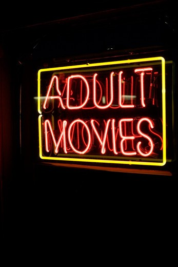 Adult Movies Neon Sign : Stock Photo