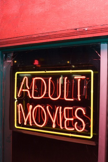 Stock Photo: 1626R-21749 Adult Movies Neon Sign