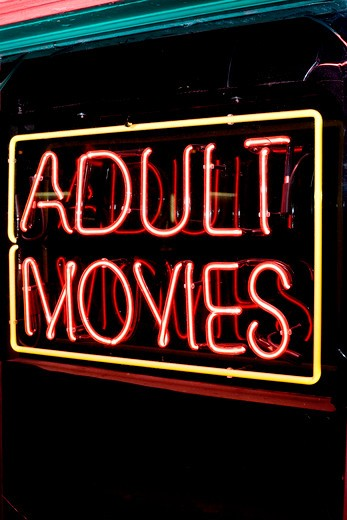Stock Photo: 1626R-21750 Adult Movies Neon Sign