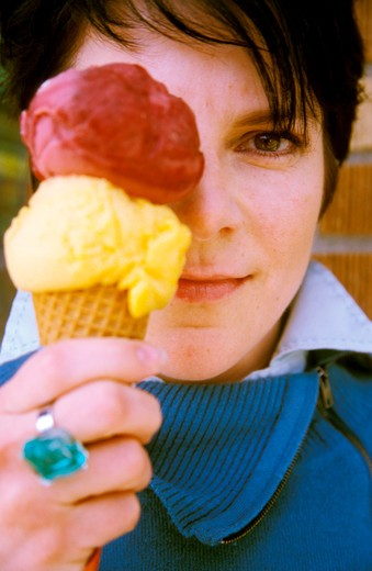 Woman with Two Scoops of Sorbet : Stock Photo