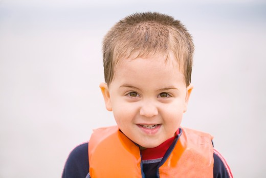Little Boy with Life Jacket : Stock Photo
