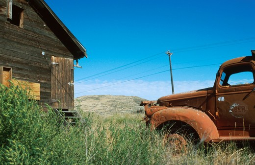 Stock Photo: 1626R-2415 Old Car and Farm