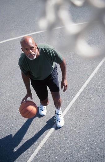 Man Ready to Shoot Basketball : Stock Photo