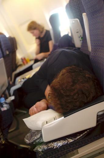 Sleeping On Airplane : Stock Photo