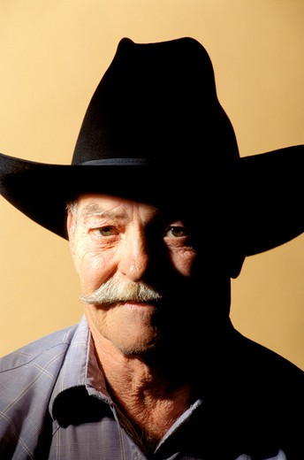 Old Man in Cowboy Hat : Stock Photo