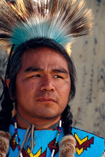 Stock Photo: 1626R-5395 Native American Man in Traditional Clothes