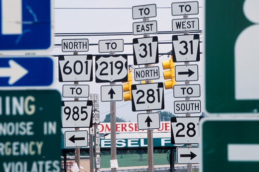 Stock Photo: 1626R-7091 All Sorts of Highway Signs