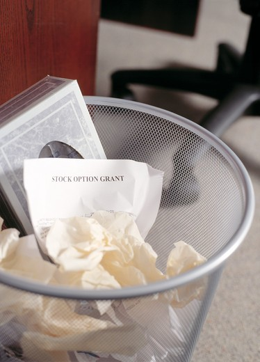 Stock Photo: 1626R-7635 Stock Option Grant in the Trash