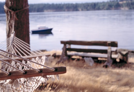 Stock Photo: 1626R-7640 Hammock by Peaceful Lake