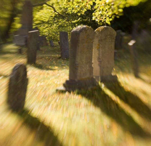 Stock Photo: 1626R-8659 Tombstones on burial ground