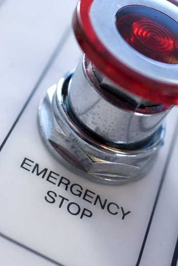 Emergency stop button, close-up : Stock Photo