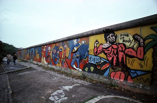 Graffiti on a wall, Berlin Wall, Berlin, Germany : Stock Photo