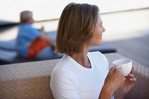 Woman Drinking Coffee Outdoors : Stock Photo