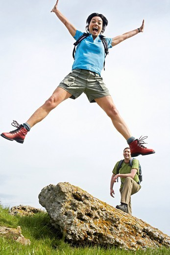 Hiking Couple Being Playful : Stock Photo