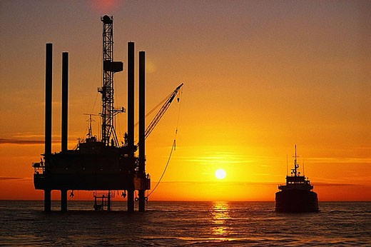 Oil Platform and Tanker : Stock Photo