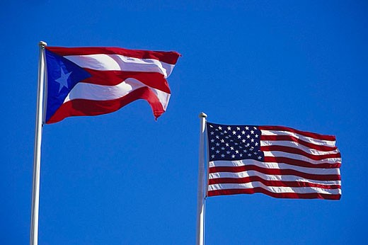 Flags of Puerto Rico and United States : Stock Photo
