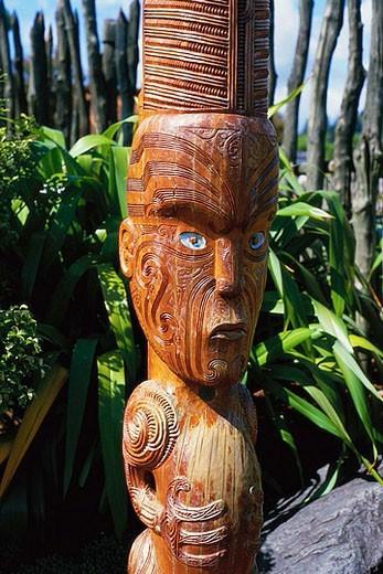 Carved Wooden Maori Figure : Stock Photo