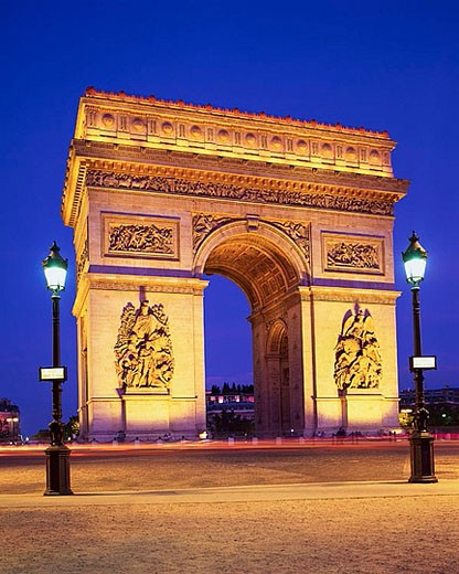 Arc de Triomphe de l´Etoile Illuminated at Twilight : Stock Photo