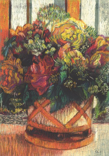 Very Mixed Bouquet Connie Fekete (b.20th C American) Pencil & pastel : Stock Photo